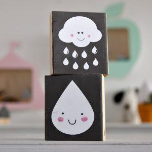 בלוקי עץ מאויירים - ענן/טיפה