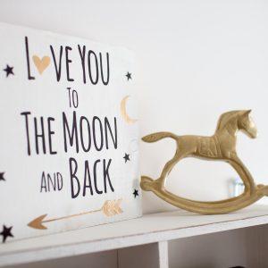 """Love you to the moon"" תמונת קיר מאוירת"