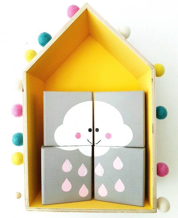 סט בלוקי עץ מאויירים ענן גשם