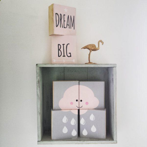 סט בלוקי עץ מאויירים dream big