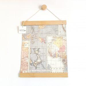 תמונת מפת אטלס רקע אפור מכותנה