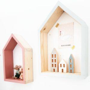 סט מדפים מעוצבים בצורת בית מעץ מלא