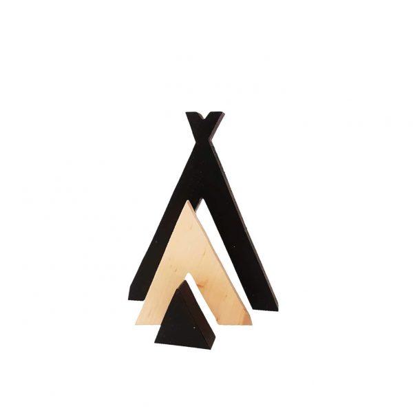 אוהל טיפי תלת מימדי מעץ מלא
