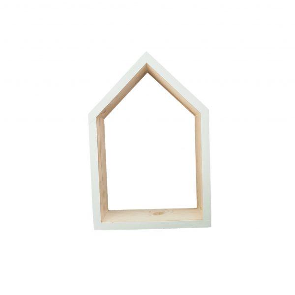 סט זוג מדפים בצורת בית מעץ מלא