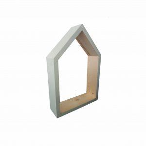מדף מעוצב בצורת בית מעץ מלא