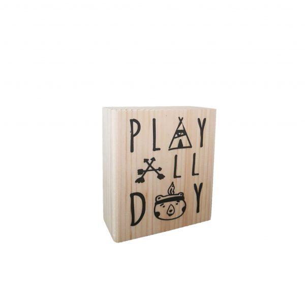 בלוק עץ מאוייר - Play All Day