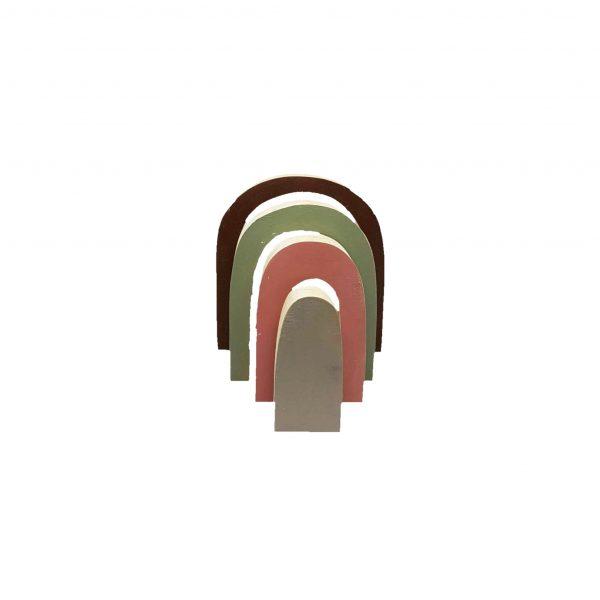 קשת צבעונית תלת מימדית צרה מעץ אורן