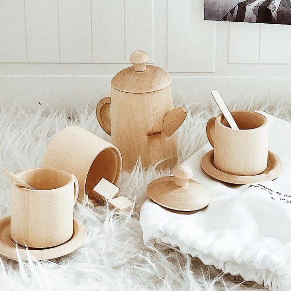 סט תה מעץ ליים בצבע עץ ציבעי