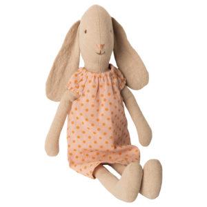 ארנבת ארוכת אוזניים עם שימלת נקודות בצבע ורוד