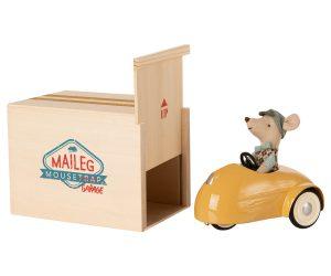 סט רכב וינטאג' עם עכבר - כחול צהוב