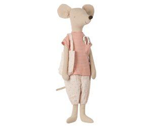 מגה עכברה בבגדי לילה עם סט מברשות שיניים - ורוד