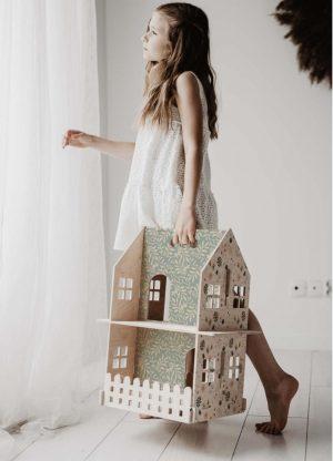 בית בובות קומותיים לעיצוב החדר - ירוק זית