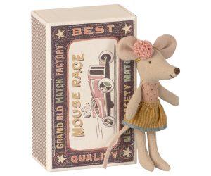 אחות עכברה קטנה בקופסת גפרורים