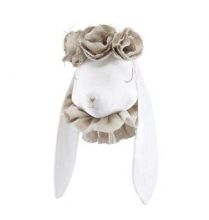 ארנבונית חמודה עם פרחים לתליה - בז'