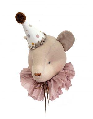 דב עם כובע ליצן בצבע לבן - לתליה